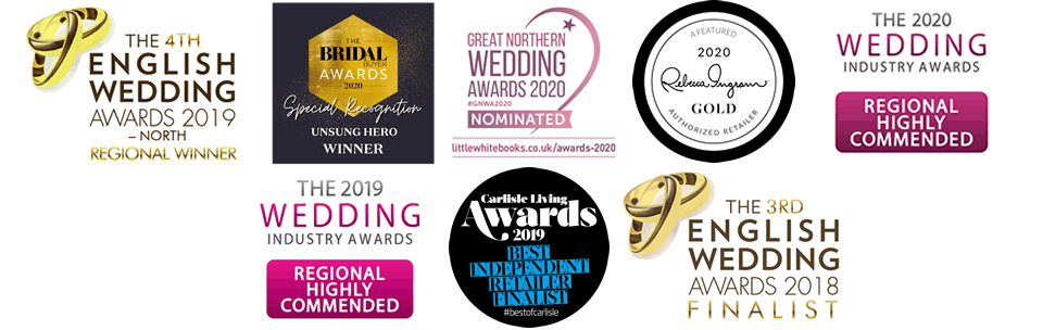 Carols Bridal are finalists in the 2018 English Wedding Awards and the 2019 Wedding Industry Awards